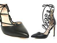 River Island Tie up Court Heels - Black