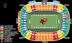 BC LIONS V EDMONTON ESKIMOS + FRONT ROW 50 YARD SINGLE