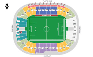 NEW YORK RED BULLS @ Whitecaps FC (sec 240, row D) CENTER FIELD