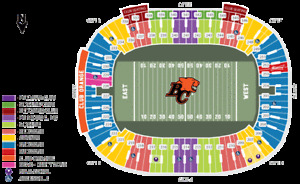 BC LIONS V HAMILTON TIGER-CATS + PAIR IN FRONT ROW ON LIONS