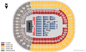 Guns and Roses (SEC FLOOR C6, row 56) CENTER FLOOR SEATS!