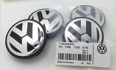 SET OF 4 VW VOLKSWAGEN CHROME CENTER WHEELS HUB CAPS LOGO 56mm (2 ½ inches)