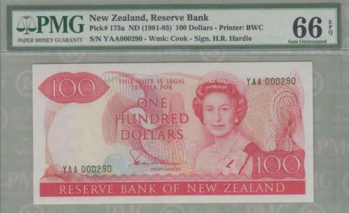 PMG 66 New Zealand 1981-1985 Paper Banknote 100 Dollars EPQ