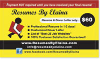 """█► """"Resumes By Elaina"""" ~ Best Resume Company in the Area"""