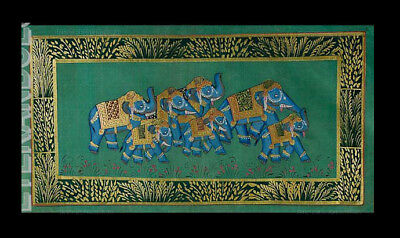 Hanging Wall Painting Mughal on Silk Art Elephant India 39x20cm C16 1214