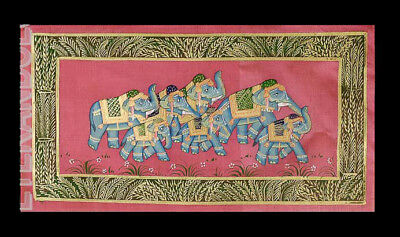 Hanging Wall Painting Mughal on Silk Art Elephant India 39x20cm C14 1212