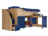 Milo Mid Sleeper Kids Bed with Storage Steps, H 116.5, W 95.7, L 231 cm, *OAK/BLUE*
