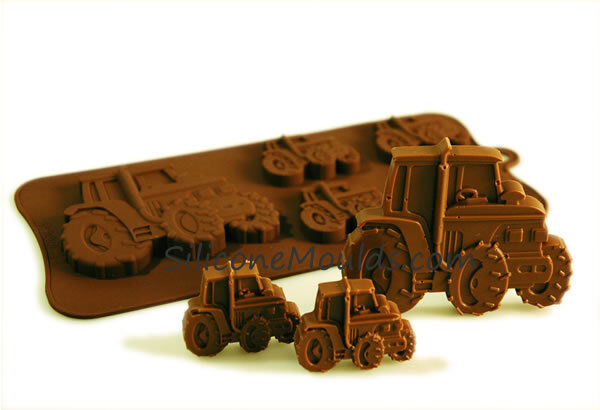 4+1 Tractor Farm Vehicle Silicone Chocolate Mould Baking Candy Cookie Wax Soap