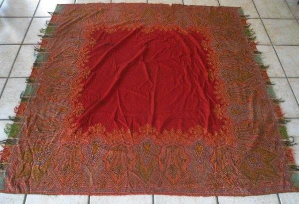 Antique 1890s Wool Paisley Embroidered Shawl Red Piano Scarf Tapestry to Repair