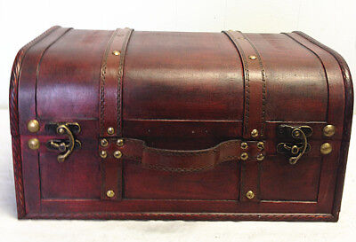 Faux Leather Decorative Wooden Storage Trunk (HF 008C-1)