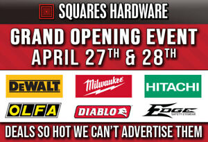 GRAND OPENING SALE: DeWALT, Milwaukee, Hitachi, Paslode & more..