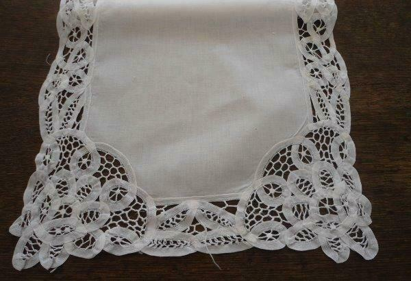 Vintage Handmade Battenburg Lace Table Runner Authentic White 66""