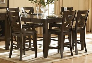 Set of 4 High Wood chairs with leather - No table