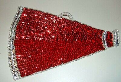 Large RED Cheerleader Megaphone Sequin Beaded Applique Patch