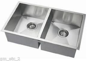 Corner Kitchen Sinks Stainless Steel : New-33-Stainless-Steel-Double-Bowl-Zero-Radius-Corner-Kitchen-Sink