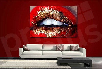 Red Gold Lips Face Canvas Art Poster Print Wall - Red Lips Art Poster