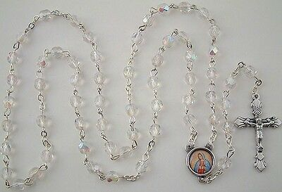 NEW MADE IN ITALY OUR LADY OF GUADALUPE CLEAR AURORA CRYSTAL BEAD ROSARY