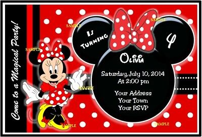 MINNIE MOUSE  BIRTHDAY INVITATION Digital Party Invitation Personalized Custom R](Custom Minnie Mouse Birthday Invitations)