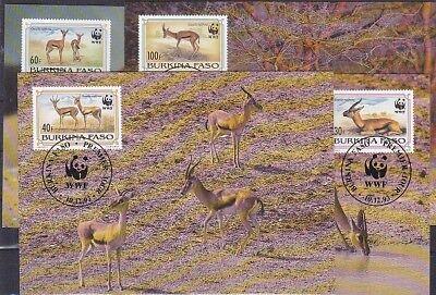 V1836 WWF 1993 GAZELLEN BURKINA FASO MINR 1298 1301 AUF 4 MAXICARD