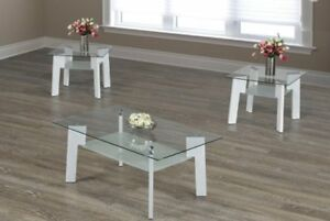 Glass coffee table with white legs & frosted glass underneath