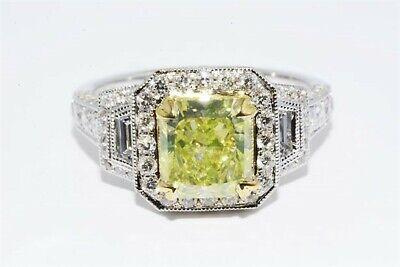 $28,000 2.94ct GIA Certified Natural Fancy Greenish Yellow Diamond Ring 18K Gold