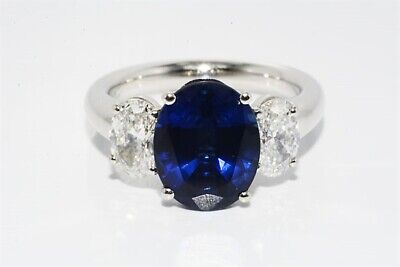 $47,000 5.29ct GIA Certified Natural Sapphire & Diamond Platinum Hand Made Ring