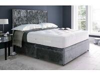 Double bed frame - grey velvet - brand new
