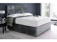Double bed frame - grey velvet- brand new
