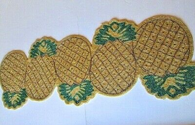 """Hand Beaded Pineapple Table Runner 36 x 11""""  Gold and Green"""