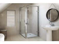 Shower enclosure set 760x760 with pivot door and side panel RRP 320, New