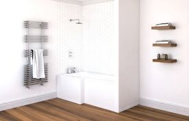 L Shaped Bath 1500 x 850 at widest. Left handed. New in packaging. £90.00. local delivery available