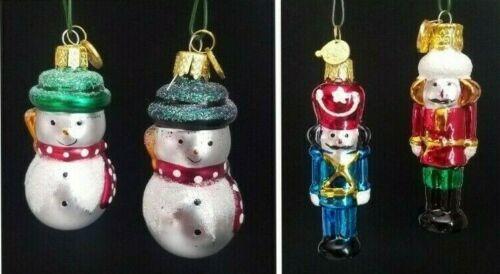 Kurt Adler KSA Lot of 4 Blown Glass Mini Ornaments Snowmen & Nutcrackers