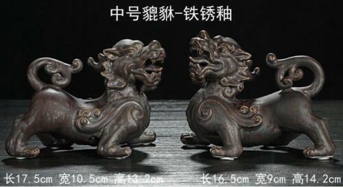 "6"" Chinese Dehua Porcelain Carving Dragon Pixiu Brave Troops Beast Statue Pair"