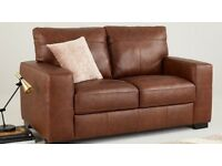 Excellent modern tan leather sofas 2seater & 3seater