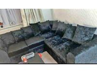 BRAND NEW L SHAPE LIVERPOOL CRUSH VELVET CORNER AND 3+2 SEATER SOFA ON SALE