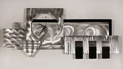 Large Silver/Black 3D Wall Clock - Modern Abstract Metal Wall Art by Jon Allen