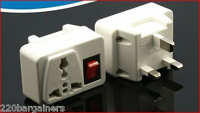 UK Plug Adapter W/ Power ON/OFF Switch -British Style 3-Pin Adapter  (British Power Adapter)