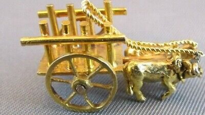 RARE 14K GOLD 3D WESTERN COWBOY OXEN CART moving wheels PENDANT CHARM 1940's - 14k Gold Western Charm