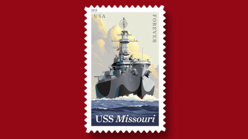 2019 55c USS Missouri, Iowa-class battleship, U.S. Navy Scott 5392 Mint F/VF NH