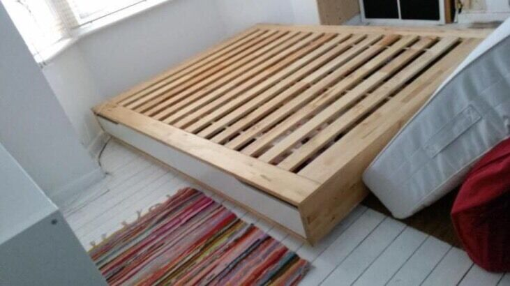 ikea king size mandal bed frame with storage birch white in camberwell london gumtree. Black Bedroom Furniture Sets. Home Design Ideas