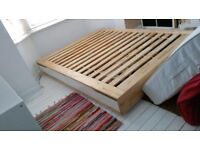 Ikea King Size MANDAL Bed Frame With Storage Birch White