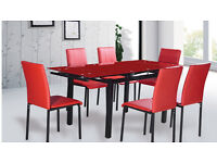 Red Dining Table - 6 Chairs - Extendable - Tempered Glass - Perfect condition