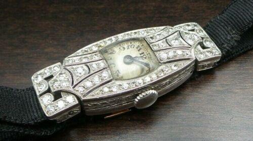 Gorgeous Antique 1920s Art Deco Austrian Platinum & Diamond Ladies Wrist Watch