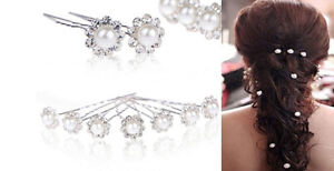 10pcs Crystal Rhinestone Pearl Hairpins Hair Pins Clips - New