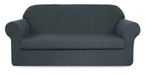 TIKAMI 2-Piece Jacquard Spandex Couch Covers Fitted Sofa Cover S