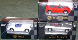 Set of 3 British Sports Cars, Mint-In-Box, in 1/43 scale