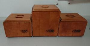 Vintage Baribocraft Suugar, Coffee, Tea Wood Canister Set