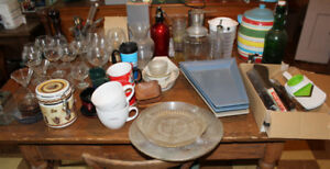 Lot of Kitchen ware Bar glasses utensils coffee dishes pots pans