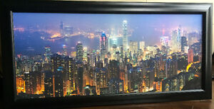 Hong Kong City Skyline at Night - Beautifully Framed