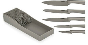 Brand New Cuisinart Stainless Steel Knife Set With Storage Tray